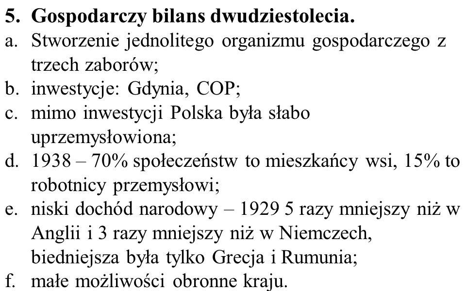 5.Gospodarczy bilans dwudziestolecia.