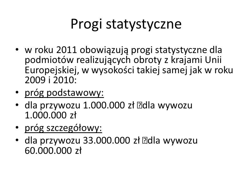 Progi statystyczne w roku 2011 obowiązują progi statystyczne dla podmiotów realizujących obroty z krajami Unii Europejskiej, w wysokości takiej samej jak w roku 2009 i 2010: próg podstawowy: dla przywozu 1.000.000 zł dla wywozu 1.000.000 zł próg szczegółowy: dla przywozu 33.000.000 zł dla wywozu 60.000.000 zł