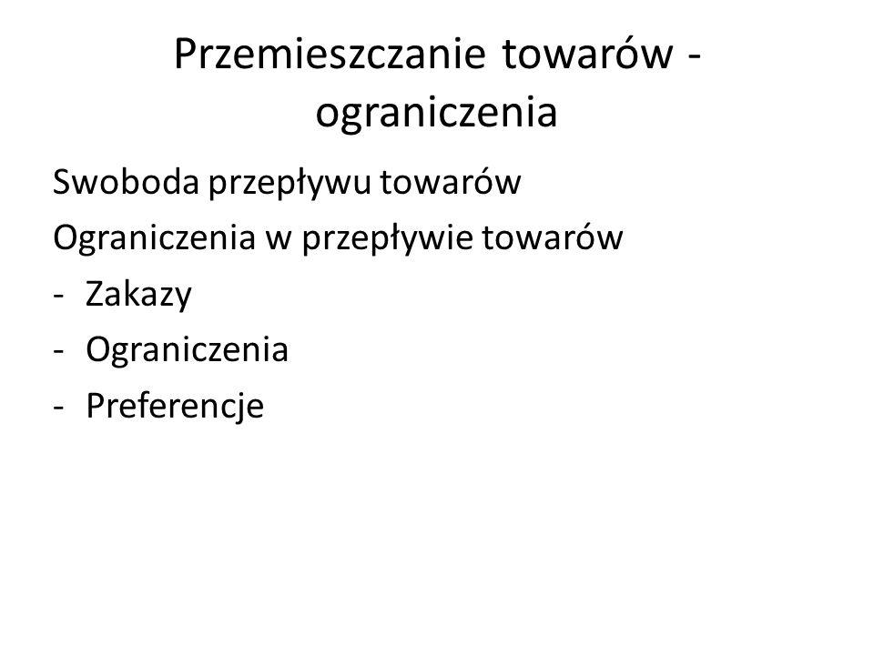 Przemieszczanie towarów - ograniczenia Swoboda przepływu towarów Ograniczenia w przepływie towarów -Zakazy -Ograniczenia -Preferencje