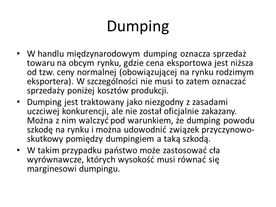 Dumping W handlu międzynarodowym dumping oznacza sprzedaż towaru na obcym rynku, gdzie cena eksportowa jest niższa od tzw. ceny normalnej (obowiązując