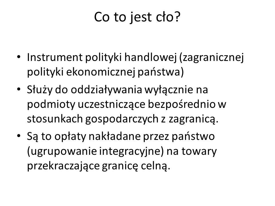 Co to jest cło? Instrument polityki handlowej (zagranicznej polityki ekonomicznej państwa) Służy do oddziaływania wyłącznie na podmioty uczestniczące