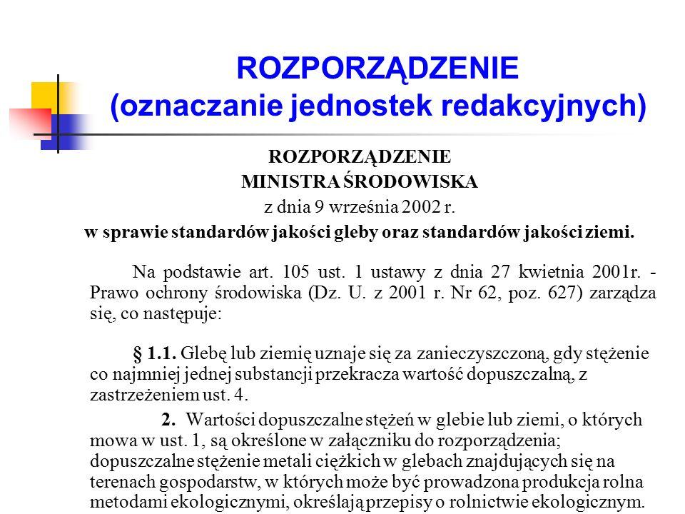 ROZPORZĄDZENIE (oznaczanie jednostek redakcyjnych) ROZPORZĄDZENIE MINISTRA ŚRODOWISKA z dnia 9 września 2002 r. w sprawie standardów jakości gleby ora