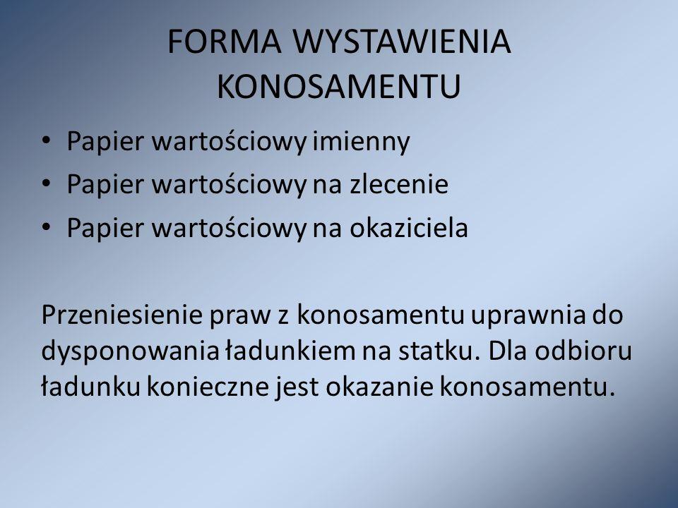 FORMA WYSTAWIENIA KONOSAMENTU Papier wartościowy imienny Papier wartościowy na zlecenie Papier wartościowy na okaziciela Przeniesienie praw z konosame