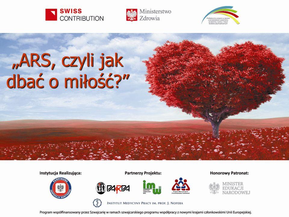 """Program edukacyjny dla szkół ponadgimnazjalnych """"ARS, czyli jak dbać o miłość? prowadzony jest w ramach Projektu KIK/68 """"Profilaktyczny program w zakresie przeciwdziałania uzależnieniu od alkoholu, tytoniu i innych środków psychoaktywnych Projekt jest współfinansowany przez Szwajcarię w ramach szwajcarskiego programu współpracy z nowymi krajami członkowskimi Unii Europejskiej."""