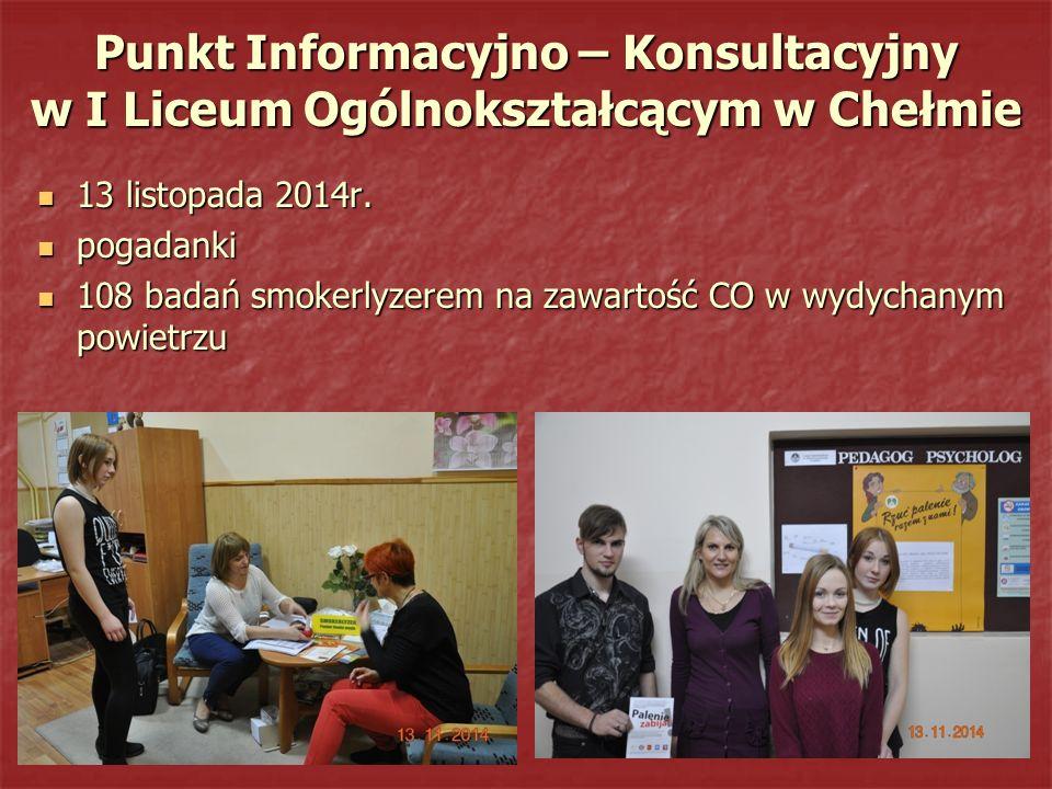 Punkt Informacyjno – Konsultacyjny w I Liceum Ogólnokształcącym w Chełmie 13 listopada 2014r. 13 listopada 2014r. pogadanki pogadanki 108 badań smoker