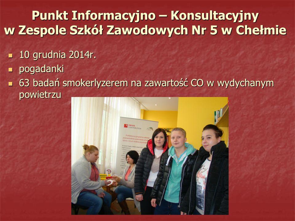 Punkt Informacyjno – Konsultacyjny w Zespole Szkół Zawodowych Nr 5 w Chełmie 10 grudnia 2014r. 10 grudnia 2014r. pogadanki pogadanki 63 badań smokerly