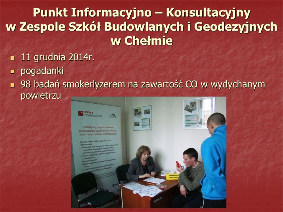 Punkt Informacyjno – Konsultacyjny w Zespole Szkół Budowlanych i Geodezyjnych w Chełmie 11 grudnia 2014r. 11 grudnia 2014r. pogadanki pogadanki 98 bad