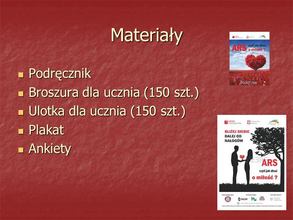 Materiały Podręcznik Podręcznik Broszura dla ucznia (150 szt.) Broszura dla ucznia (150 szt.) Ulotka dla ucznia (150 szt.) Ulotka dla ucznia (150 szt.