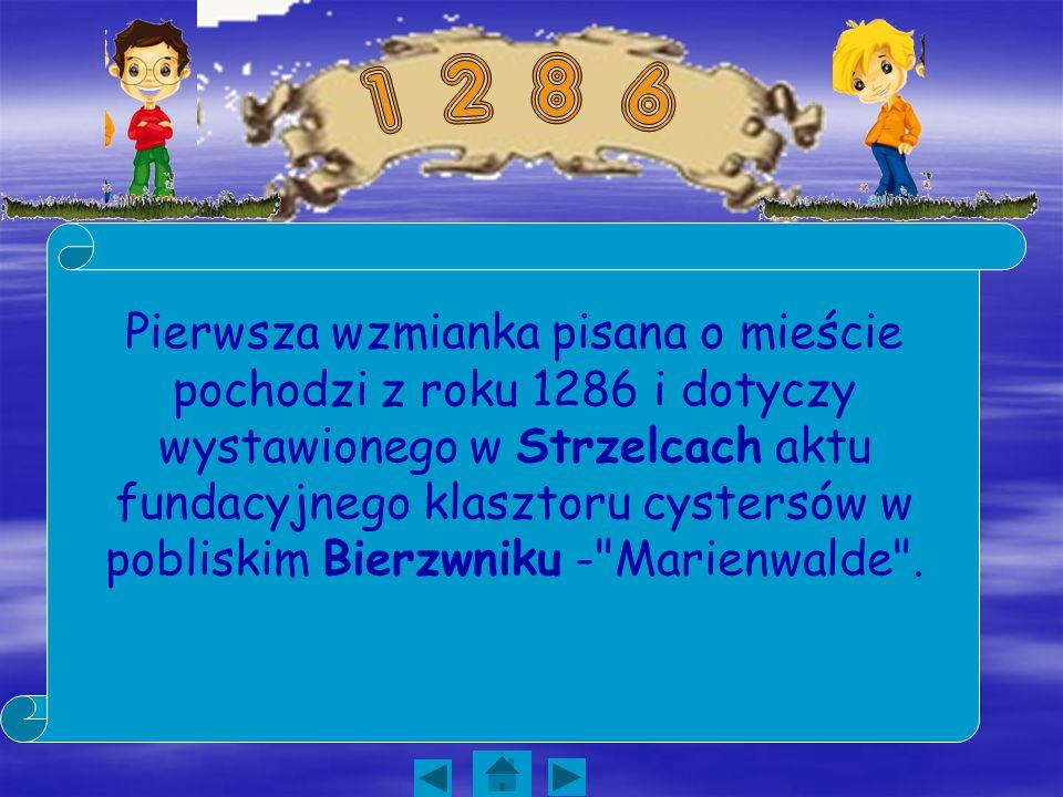 Pierwsza wzmianka pisana o mieście pochodzi z roku 1286 i dotyczy wystawionego w Strzelcach aktu fundacyjnego klasztoru cystersów w pobliskim Bierzwni