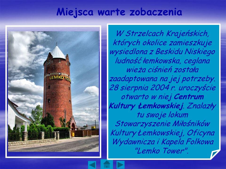Miejsca warte zobaczenia W Strzelcach Krajeńskich, których okolice zamieszkuje wysiedlona z Beskidu Niskiego ludność łemkowska, ceglana wieża ciśnień