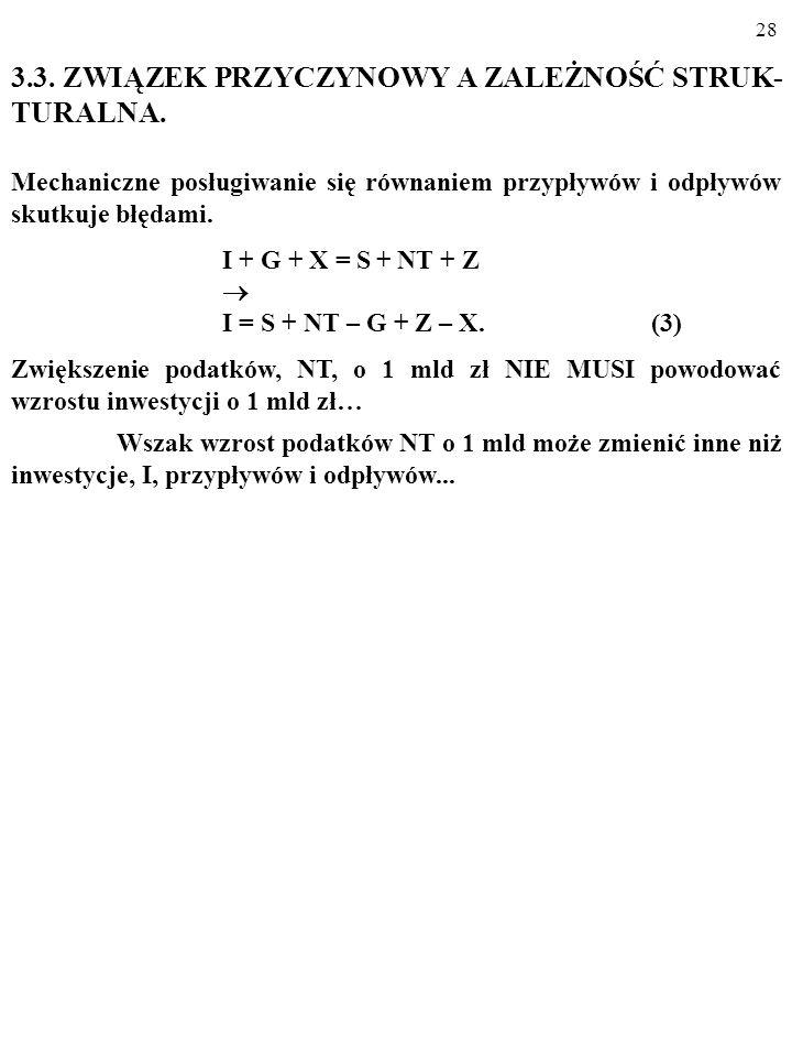 27 S + (NT – G) = (X – Z) + I. Otóż np. pogorszenie się bilansu handlowego oznacza: 1.
