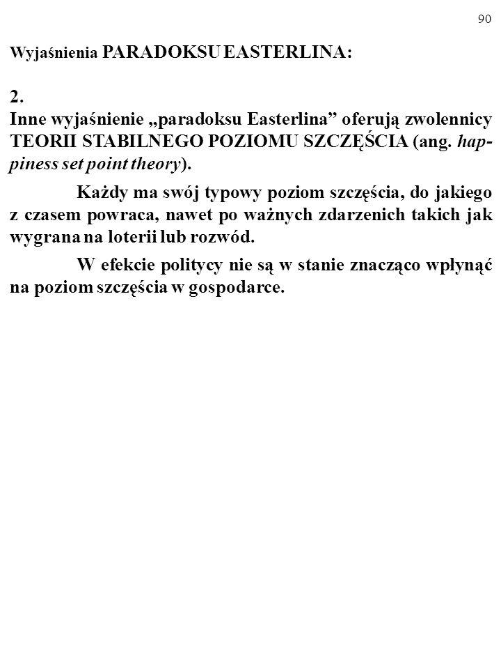 89 Wyjaśnienia PARADOKSU EASTERLINA: 1.