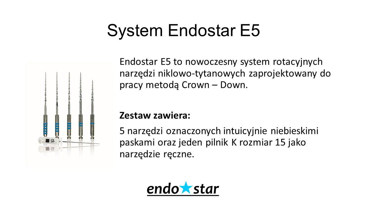 System Endostar E5 Endostar E5 to nowoczesny system rotacyjnych narzędzi niklowo-tytanowych zaprojektowany do pracy metodą Crown – Down. Zestaw zawier