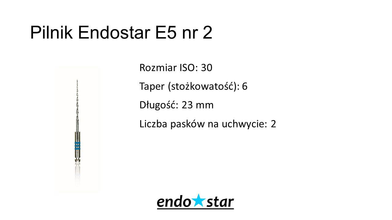 Pilnik Endostar E5 nr 2 Rozmiar ISO: 30 Taper (stożkowatość): 6 Długość: 23 mm Liczba pasków na uchwycie: 2
