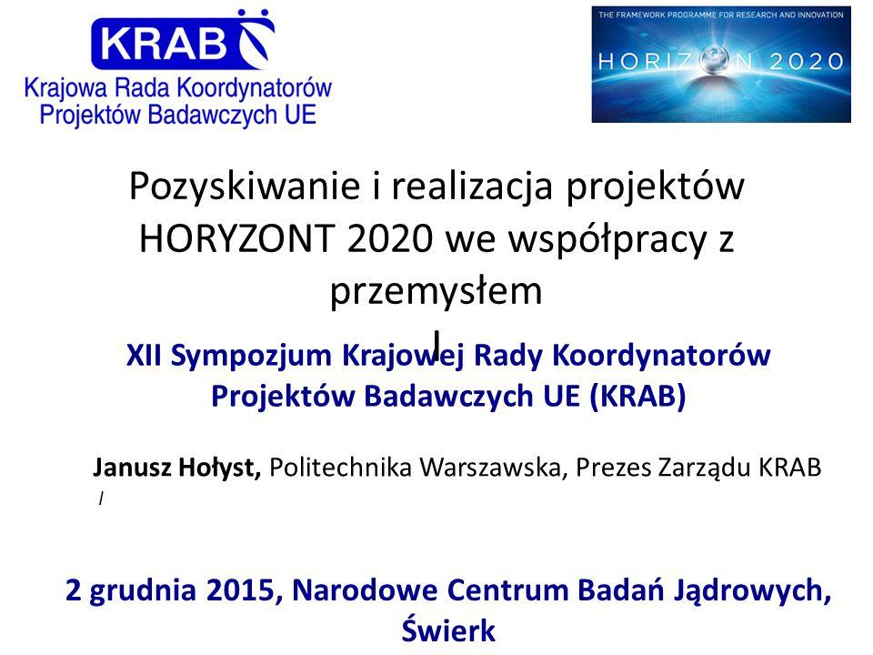 XII Sympozjum Krajowej Rady Koordynatorów Projektów Badawczych UE (KRAB) 2 grudnia 2015, Narodowe Centrum Badań Jądrowych, Świerk Pozyskiwanie i reali
