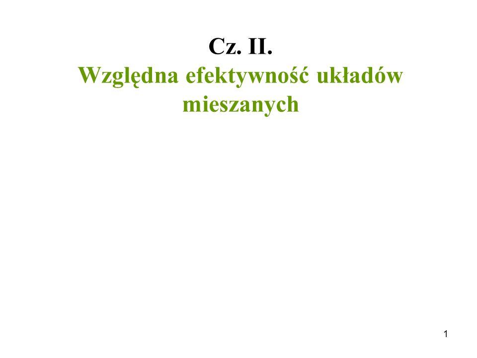 1 Cz. II. Względna efektywność układów mieszanych