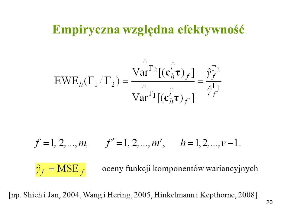 20 Empiryczna względna efektywność [np. Shieh i Jan, 2004, Wang i Hering, 2005, Hinkelmann i Kepthorne, 2008] oceny funkcji komponentów wariancyjnych