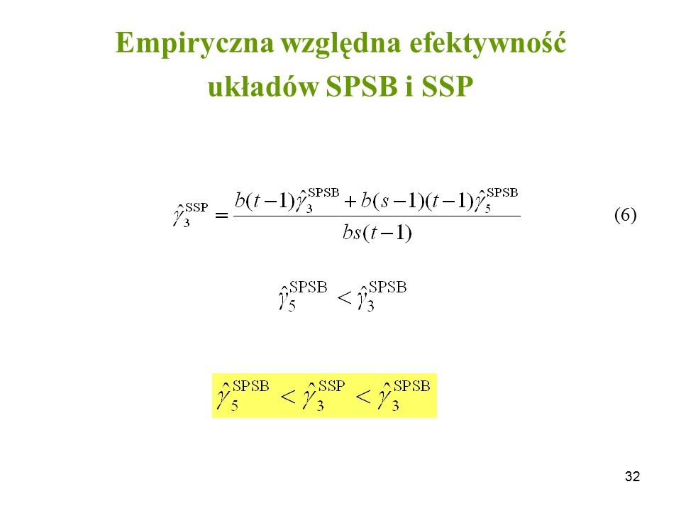 32 Empiryczna względna efektywność układów SPSB i SSP (6)