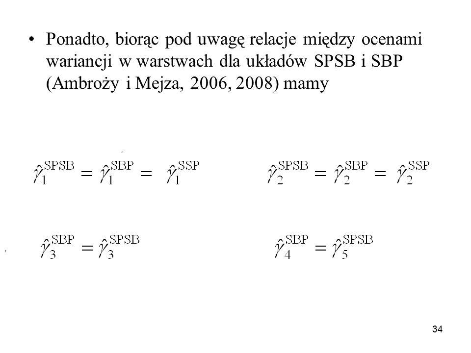 34 Ponadto, biorąc pod uwagę relacje między ocenami wariancji w warstwach dla układów SPSB i SBP (Ambroży i Mejza, 2006, 2008) mamy,,