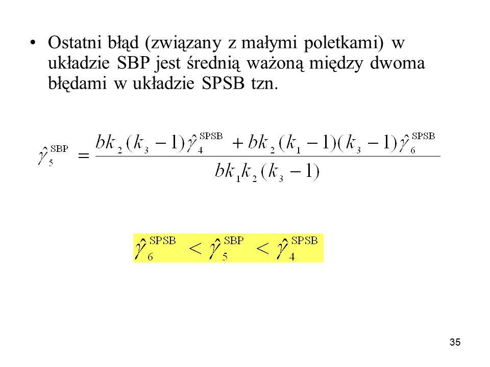 35 Ostatni błąd (związany z małymi poletkami) w układzie SBP jest średnią ważoną między dwoma błędami w układzie SPSB tzn.