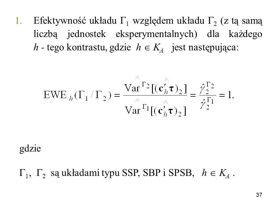 37 1. Efektywność układu  1 względem układu  2 (z tą samą liczbą jednostek eksperymentalnych) dla każdego h - tego kontrastu, gdzie h  K A jest nas