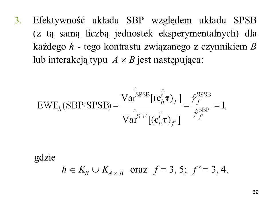 39 3. Efektywność układu SBP względem układu SPSB (z tą samą liczbą jednostek eksperymentalnych) dla każdego h - tego kontrastu związanego z czynnikie