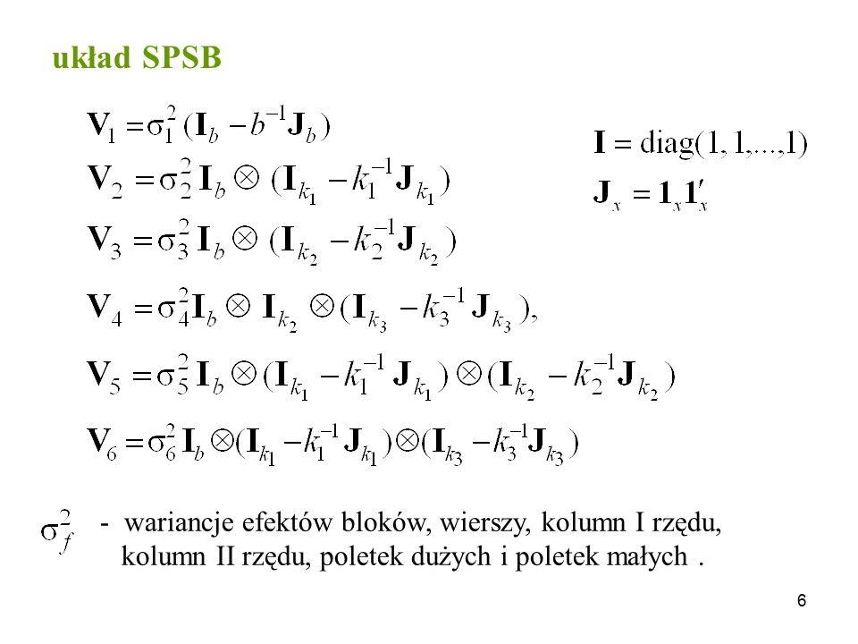 6 układ SPSB - wariancje efektów bloków, wierszy, kolumn I rzędu, kolumn II rzędu, poletek dużych i poletek małych.