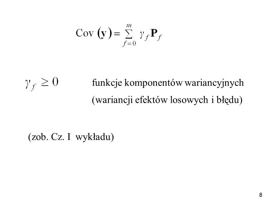 8 funkcje komponentów wariancyjnych (wariancji efektów losowych i błędu) (zob. Cz. I wykładu)