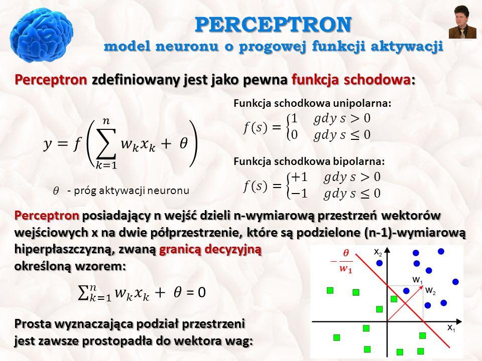 PERCEPTRON model neuronu o progowej funkcji aktywacji Perceptron zdefiniowany jest jako pewna funkcja schodowa: Funkcja schodkowa unipolarna: Funkcja