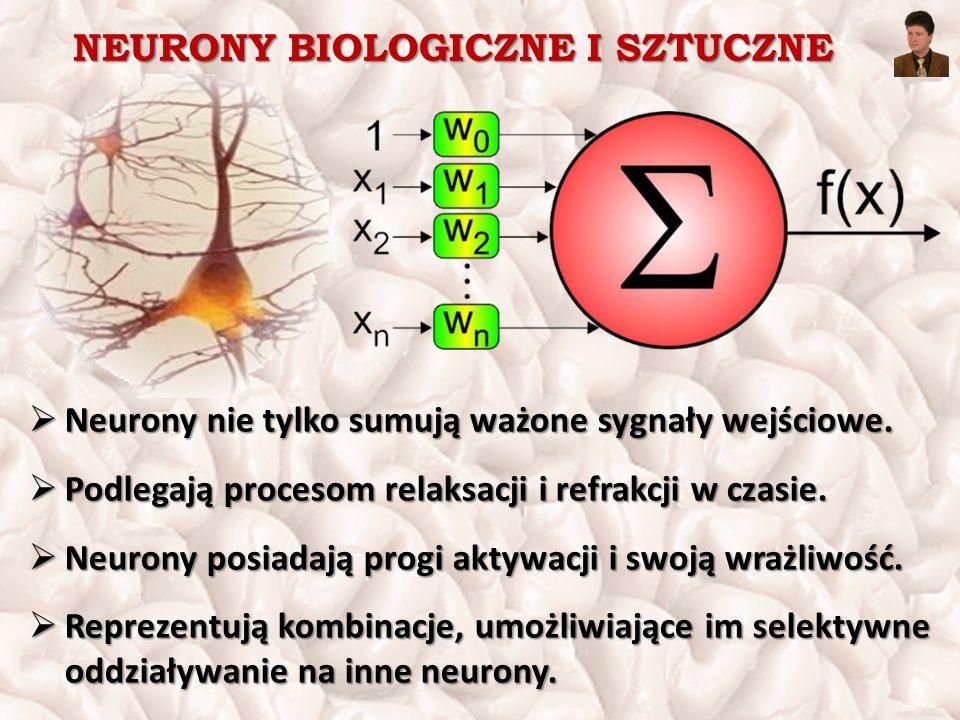 NEURONY BIOLOGICZNE I SZTUCZNE  Neurony nie tylko sumują ważone sygnały wejściowe.  Podlegają procesom relaksacji i refrakcji w czasie.  Neurony po