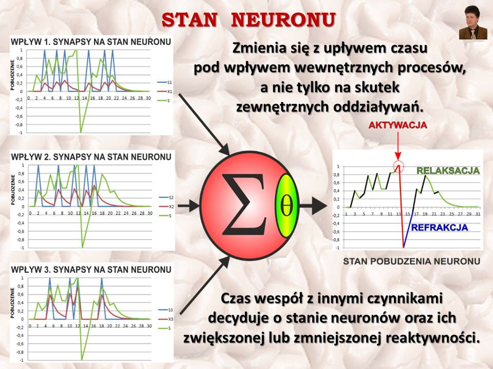 STAN NEURONU Zmienia się z upływem czasu pod wpływem wewnętrznych procesów, a nie tylko na skutek zewnętrznych oddziaływań. Czas wespół z innymi czynn
