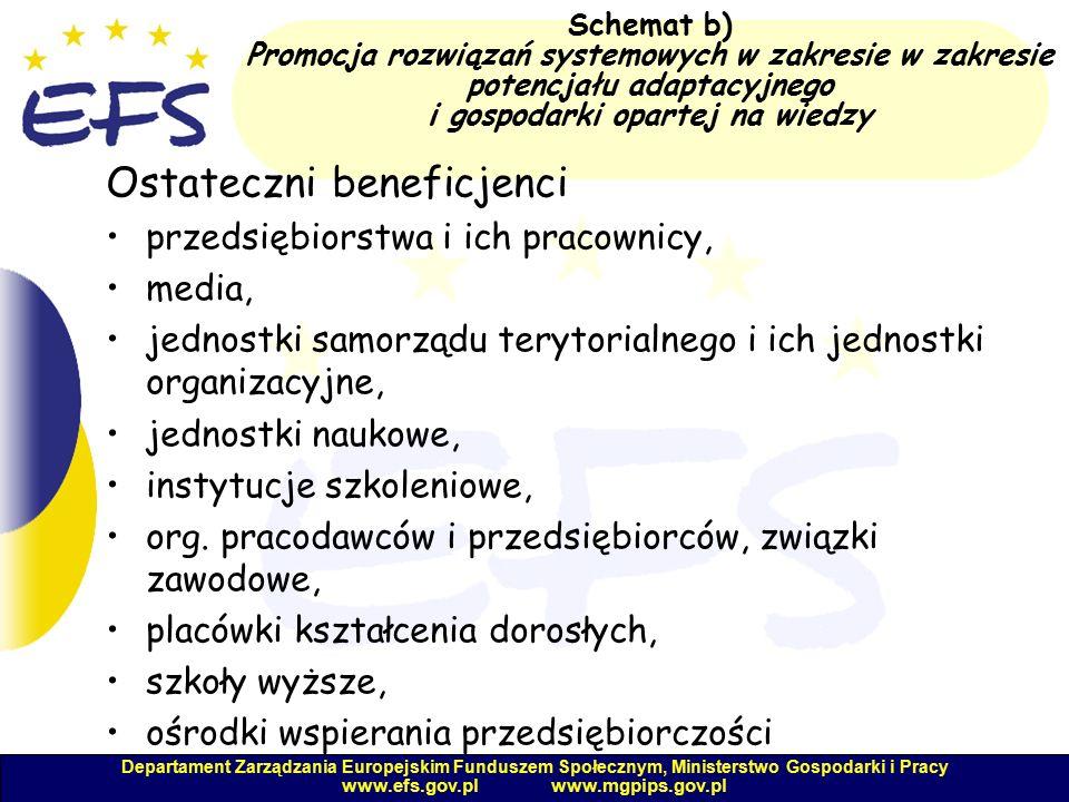 Departament Zarządzania Europejskim Funduszem Społecznym, Ministerstwo Gospodarki i Pracy www.efs.gov.pl www.mgpips.gov.pl Schemat b) Promocja rozwiązań systemowych w zakresie w zakresie potencjału adaptacyjnego i gospodarki opartej na wiedzy Ostateczni beneficjenci przedsiębiorstwa i ich pracownicy, media, jednostki samorządu terytorialnego i ich jednostki organizacyjne, jednostki naukowe, instytucje szkoleniowe, org.