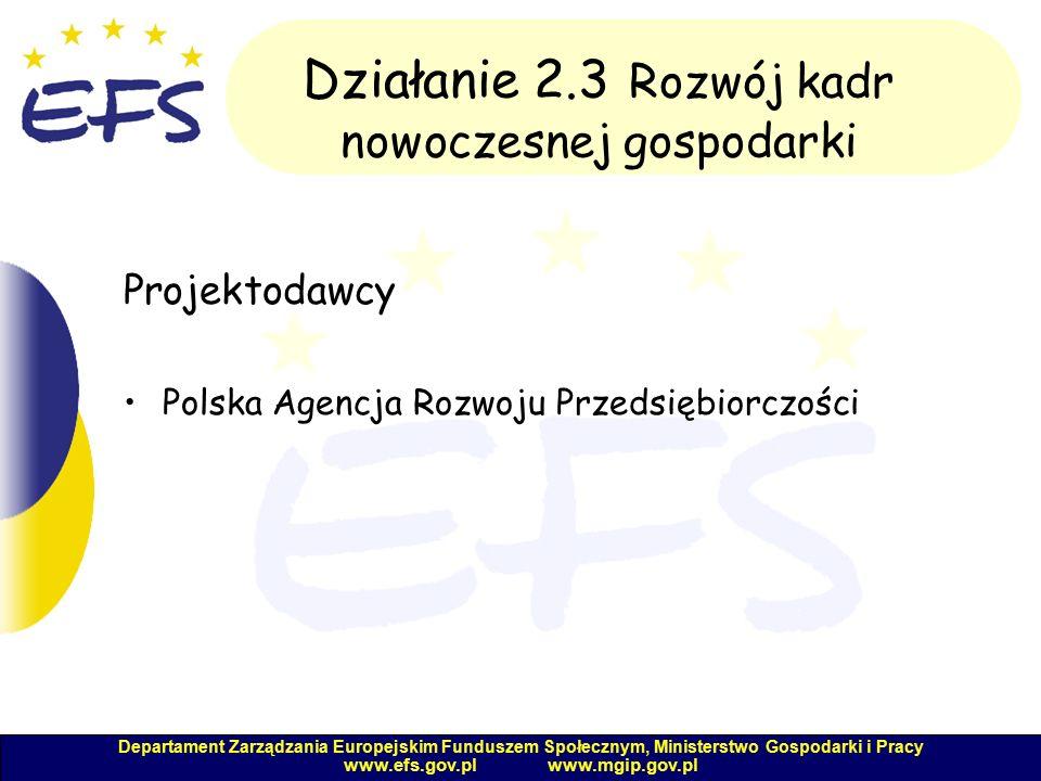 Departament Zarządzania Europejskim Funduszem Społecznym, Ministerstwo Gospodarki i Pracy www.efs.gov.pl www.mgip.gov.pl Działanie 2.3 Rozwój kadr nowoczesnej gospodarki Projektodawcy Polska Agencja Rozwoju Przedsiębiorczości
