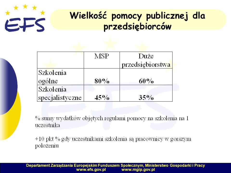 Departament Zarządzania Europejskim Funduszem Społecznym, Ministerstwo Gospodarki i Pracy www.efs.gov.pl www.mgip.gov.pl Wielkość pomocy publicznej dla przedsiębiorców