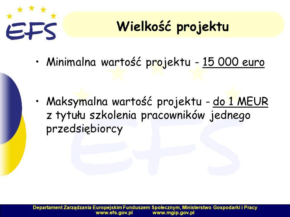 Departament Zarządzania Europejskim Funduszem Społecznym, Ministerstwo Gospodarki i Pracy www.efs.gov.pl www.mgip.gov.pl Wielkość projektu Minimalna wartość projektu - 15 000 euro Maksymalna wartość projektu - do 1 MEUR z tytułu szkolenia pracowników jednego przedsiębiorcy