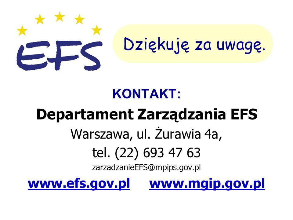 KONTAKT: Departament Zarządzania EFS Warszawa, ul.