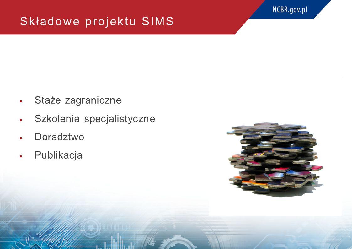 Składowe projektu SIMS  Staże zagraniczne  Szkolenia specjalistyczne  Doradztwo  Publikacja