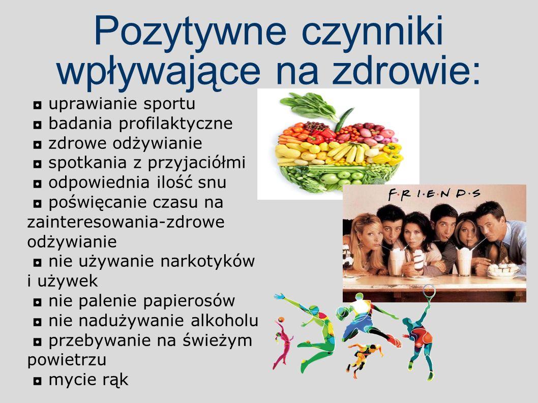 Pozytywne czynniki wpływające na zdrowie: ◘ uprawianie sportu ◘ badania profilaktyczne ◘ zdrowe odżywianie ◘ spotkania z przyjaciółmi ◘ odpowiednia il