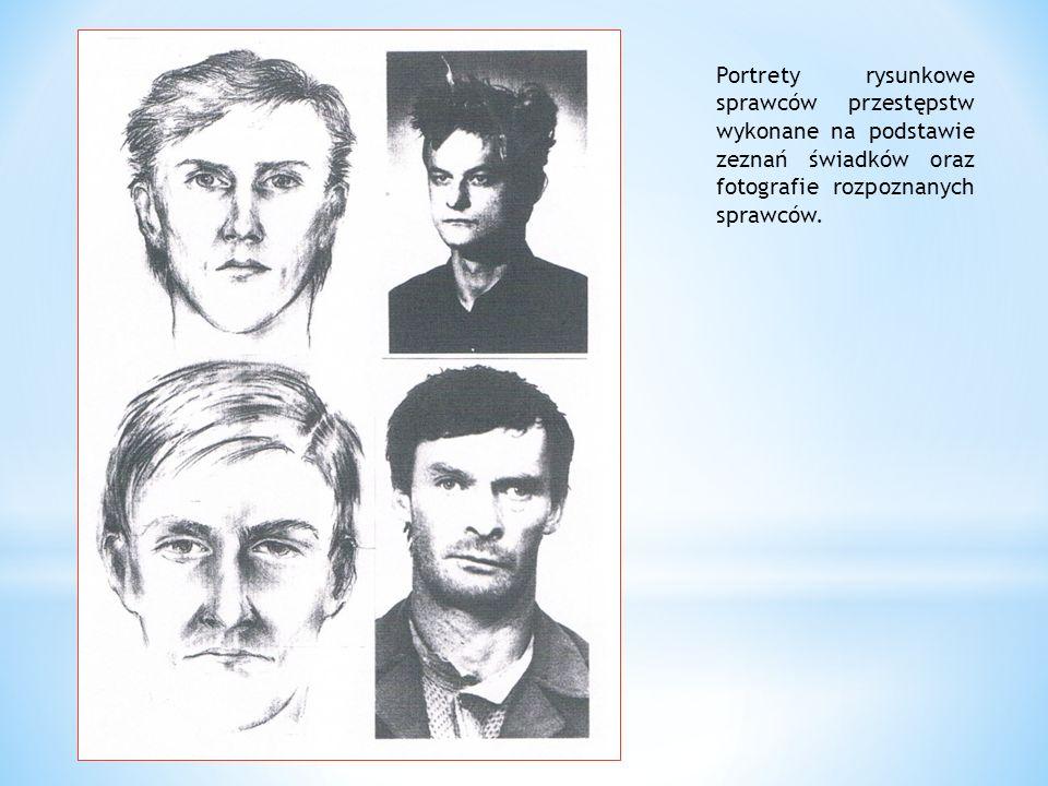 Portrety rysunkowe sprawców przestępstw wykonane na podstawie zeznań świadków oraz fotografie rozpoznanych sprawców.