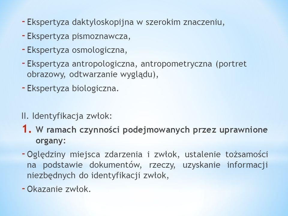 - Ekspertyza daktyloskopijna w szerokim znaczeniu, - Ekspertyza pismoznawcza, - Ekspertyza osmologiczna, - Ekspertyza antropologiczna, antropometryczn
