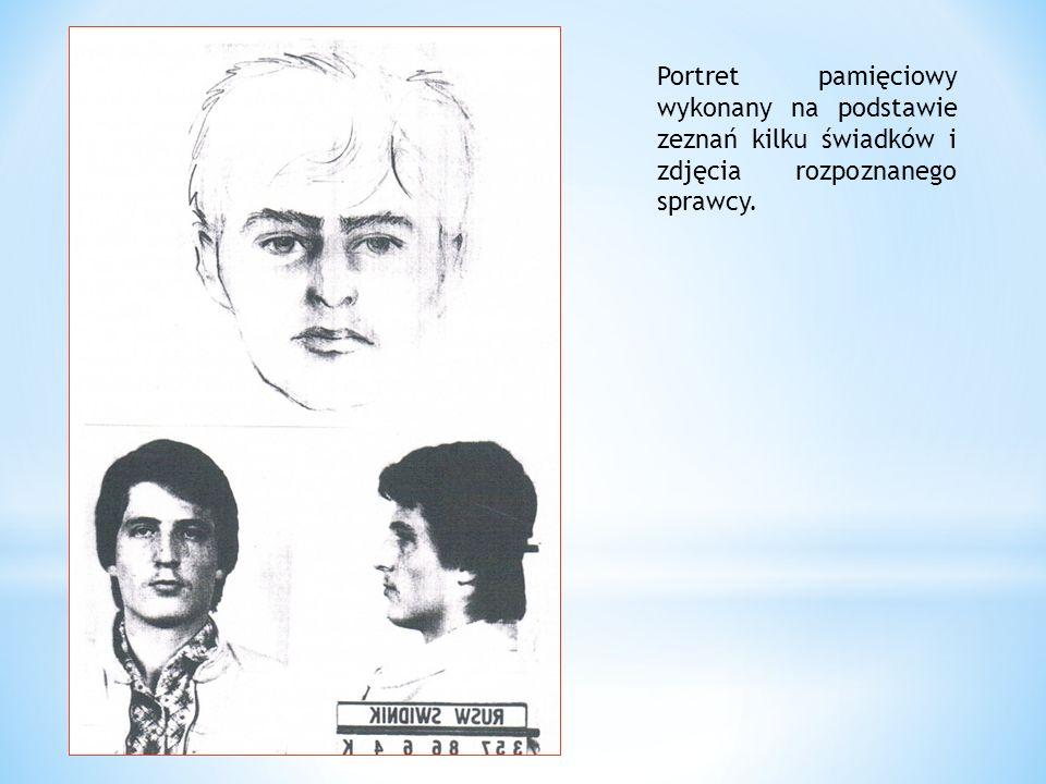 Portret pamięciowy wykonany na podstawie zeznań kilku świadków i zdjęcia rozpoznanego sprawcy.