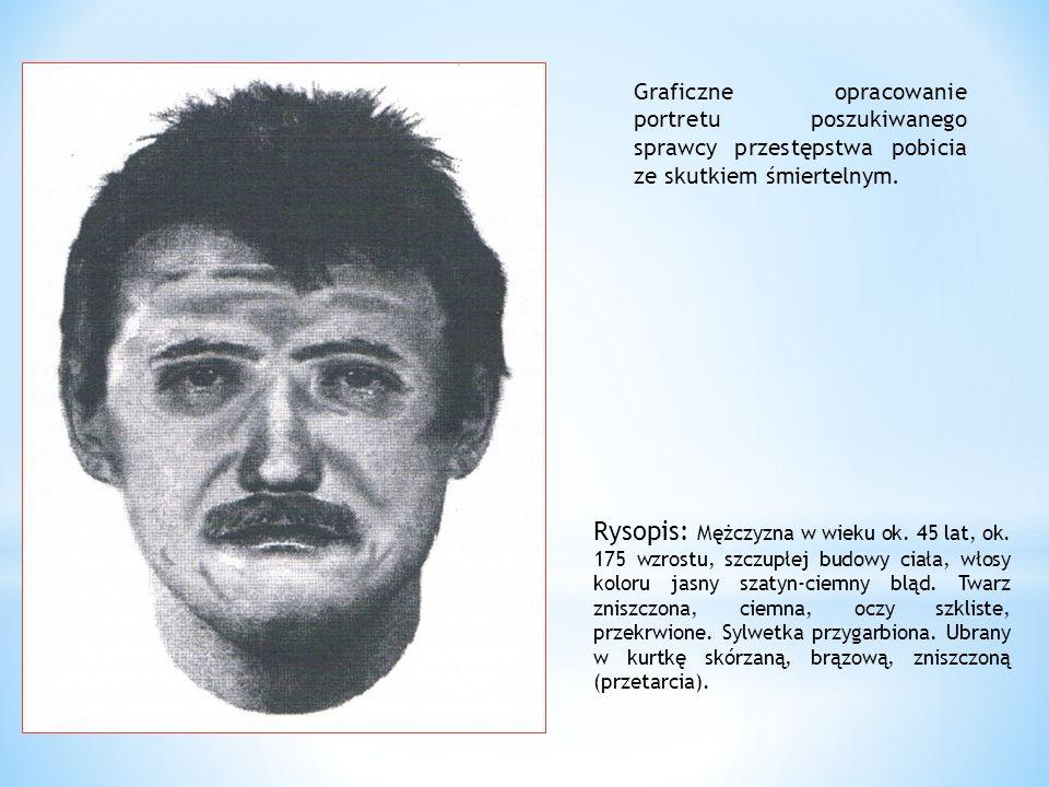 Graficzne opracowanie portretu poszukiwanego sprawcy przestępstwa pobicia ze skutkiem śmiertelnym. Rysopis: Mężczyzna w wieku ok. 45 lat, ok. 175 wzro