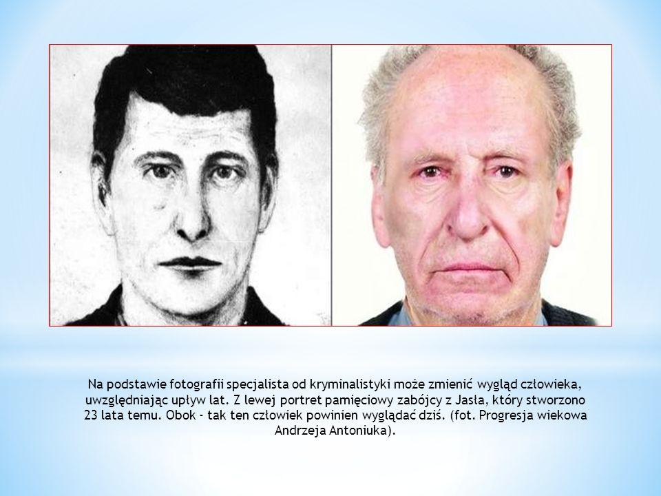 Na podstawie fotografii specjalista od kryminalistyki może zmienić wygląd człowieka, uwzględniając upływ lat. Z lewej portret pamięciowy zabójcy z Jas