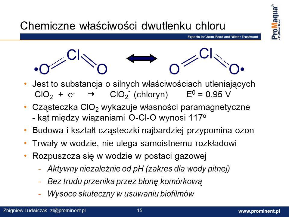 Experts in Chem-Feed and Water Treatment www.prominent.com 15 www.prominent.pl 15Zbigniew Ludwiczak zl@prominent.pl Chemiczne właściwości dwutlenku chloru O Cl OOO Jest to substancja o silnych właściwościach utleniających ClO 2 + e -  ClO 2 - (chloryn) E 0 = 0.95 V Cząsteczka ClO 2 wykazuje własności paramagnetyczne - kąt między wiązaniami O-Cl-O wynosi 117 o Budowa i kształt cząsteczki najbardziej przypomina ozon Trwały w wodzie, nie ulega samoistnemu rozkładowi Rozpuszcza się w wodzie w postaci gazowej -Aktywny niezależnie od pH (zakres dla wody pitnej) -Bez trudu przenika przez błonę komórkową -Wysoce skuteczny w usuwaniu biofilmów