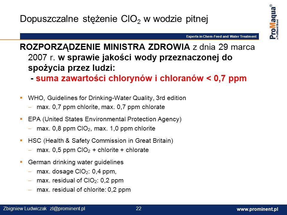 Experts in Chem-Feed and Water Treatment www.prominent.com 22 www.prominent.pl 22Zbigniew Ludwiczak zl@prominent.pl ROZPORZĄDZENIE MINISTRA ZDROWIA z dnia 29 marca 2007 r.