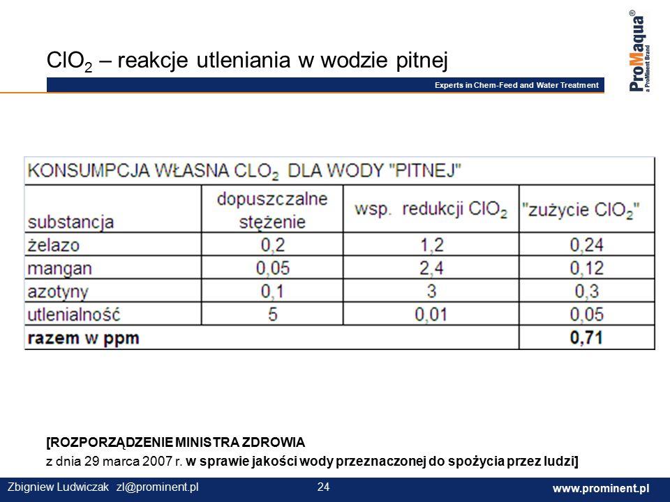 Experts in Chem-Feed and Water Treatment www.prominent.com 24 www.prominent.pl 24Zbigniew Ludwiczak zl@prominent.pl [ROZPORZĄDZENIE MINISTRA ZDROWIA z dnia 29 marca 2007 r.