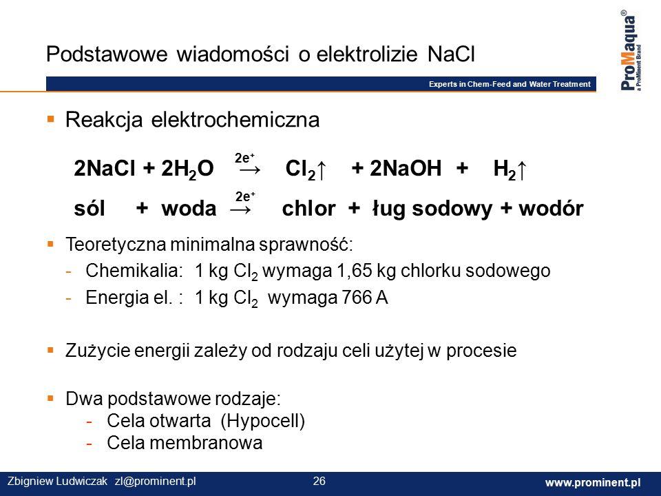 Experts in Chem-Feed and Water Treatment www.prominent.com 26 www.prominent.pl 26Zbigniew Ludwiczak zl@prominent.pl Podstawowe wiadomości o elektrolizie NaCl 2NaCl + 2H 2 O → Cl 2 ↑ + 2NaOH + H 2 ↑ sól + woda → chlor + ług sodowy + wodór 2e +  Reakcja elektrochemiczna  Teoretyczna minimalna sprawność: -Chemikalia: 1 kg Cl 2 wymaga 1,65 kg chlorku sodowego -Energia el.: 1 kg Cl 2 wymaga 766 A  Zużycie energii zależy od rodzaju celi użytej w procesie  Dwa podstawowe rodzaje: - Cela otwarta (Hypocell) - Cela membranowa 2e +