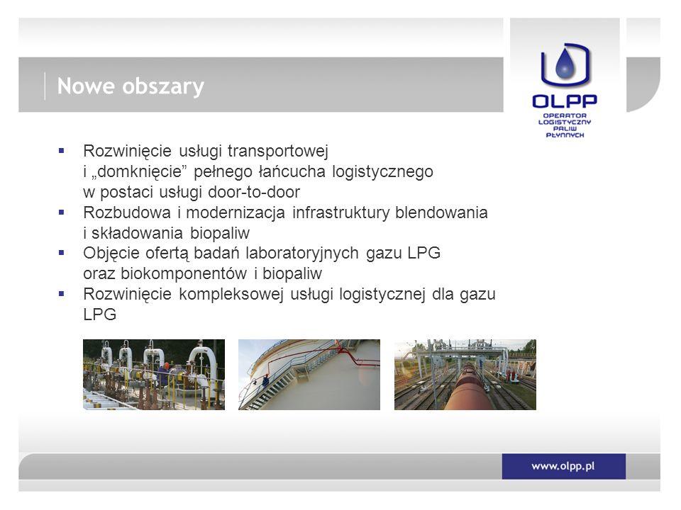""" Rozwinięcie usługi transportowej i """"domknięcie pełnego łańcucha logistycznego w postaci usługi door-to-door  Rozbudowa i modernizacja infrastruktury blendowania i składowania biopaliw  Objęcie ofertą badań laboratoryjnych gazu LPG oraz biokomponentów i biopaliw  Rozwinięcie kompleksowej usługi logistycznej dla gazu LPG Nowe obszary"""