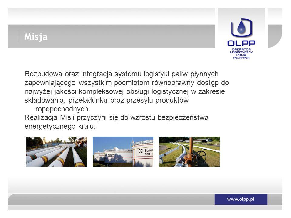 Rozbudowa oraz integracja systemu logistyki paliw płynnych zapewniającego wszystkim podmiotom równoprawny dostęp do najwyżej jakości kompleksowej obsługi logistycznej w zakresie składowania, przeładunku oraz przesyłu produktów ropopochodnych.