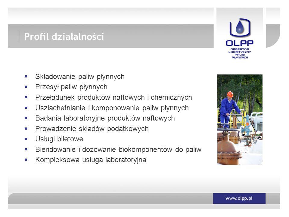  Składowanie paliw płynnych  Przesył paliw płynnych  Przeładunek produktów naftowych i chemicznych  Uszlachetnianie i komponowanie paliw płynnych  Badania laboratoryjne produktów naftowych  Prowadzenie składów podatkowych  Usługi biletowe  Blendowanie i dozowanie biokomponentów do paliw  Kompleksowa usługa laboratoryjna Profil działalności
